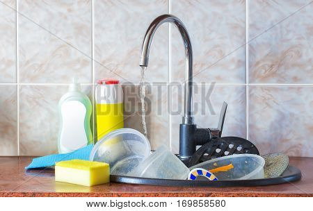 Dirty dishes in the sink concept design illustration banner