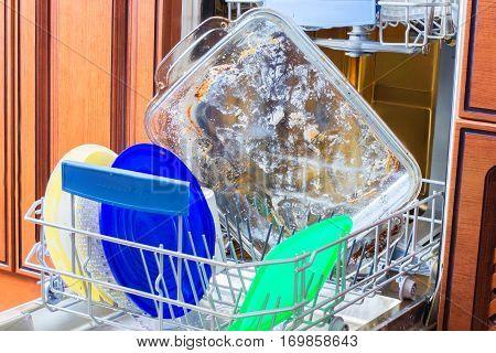 Dirty utensils in ware washing concept design illustration banner