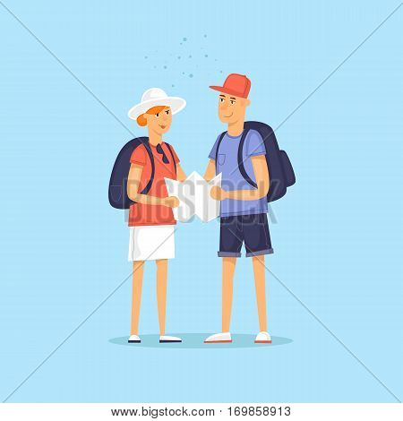 Couple of tourist together on a trip. Character design. World Travel. Planning summer vacations. Flat design vector illustration.
