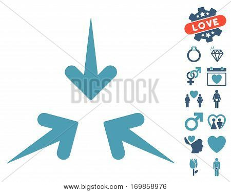 Impact Arrows icon with bonus dating pictograph collection. Vector illustration style is flat rounded iconic cyan and blue symbols on white background.