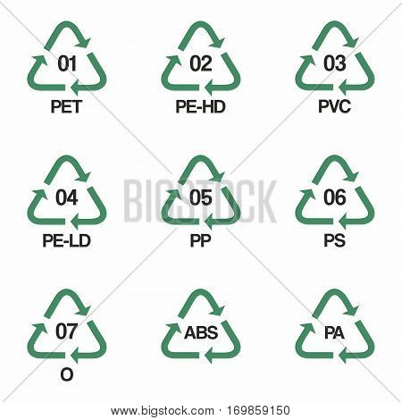 Plastic Recycling Symbols Vector Vector Photo Bigstock