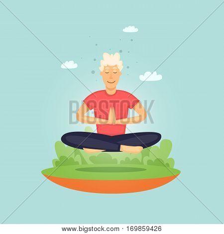 Man practicing yoga. Flat vector illustration in cartoon style.