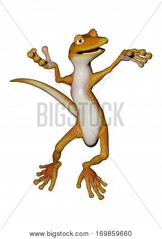 3D rendering of a cartoon gecko isolated on white background
