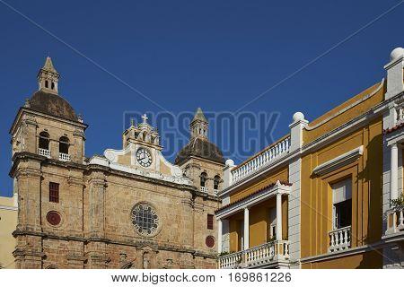 Facade of the historic Iglesia de San Pedro Claver in the Spanish colonial city of Cartagena in Colombia.
