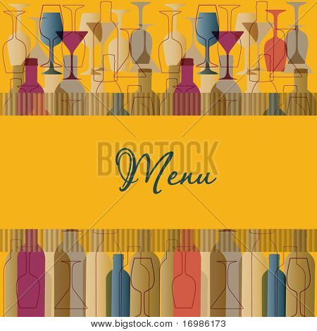 Restaurant menu background with wine bottles and glasses