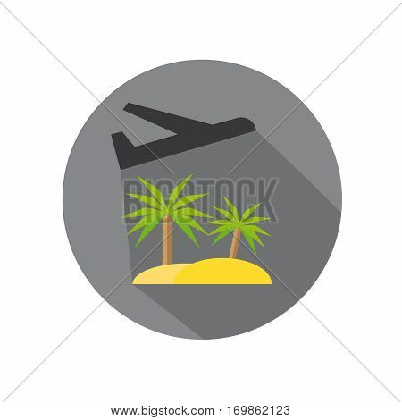 Flat Icon of Fly Away Plane And Tropical Island For Travel And Beach