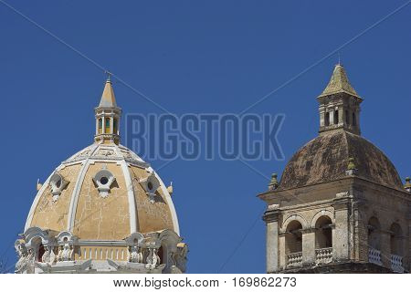 Tower and dome of the historic Iglesia de San Pedro Claver in the Spanish colonial city of Cartagena in Colombia.