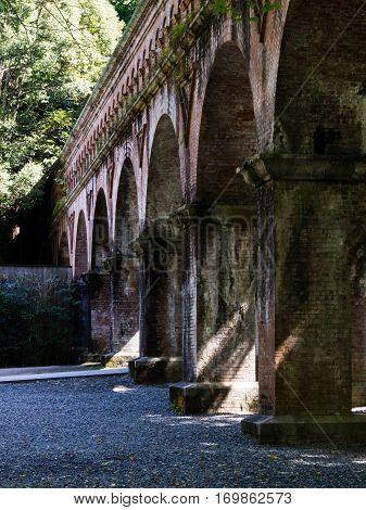 Kyoto, Japan - October 2, 2015: Old aqueduct inside Nanzenji temple complex