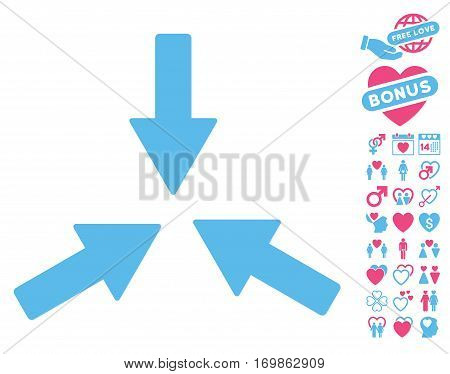 Collide 3 Arrows pictograph with bonus passion images. Vector illustration style is flat rounded iconic pink and blue symbols on white background.