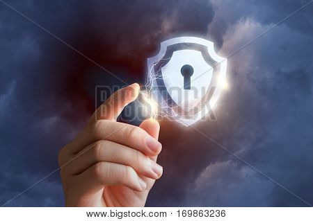 Hand activates protection concept design illustration banner