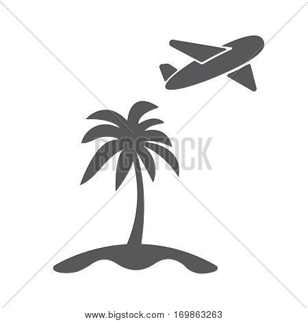 Vector modern travel concept flat icon illustration. Airplain fly away from island with palm