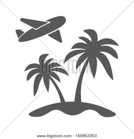 Vector modern travel concept flat icon illustration. Airplain landing to island with palm