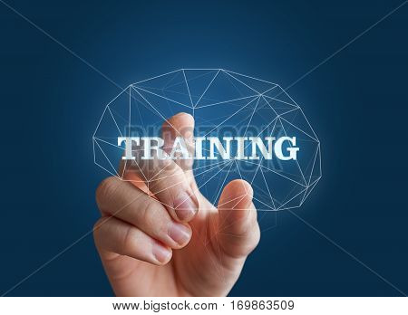 Hand Insert The Word Training In The Brain.
