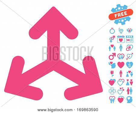 Direction Variants pictograph with bonus passion clip art. Vector illustration style is flat rounded iconic pink and blue symbols on white background.
