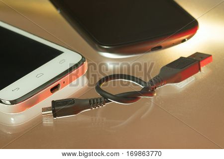 Wireless connection between two smart phones and usb cable
