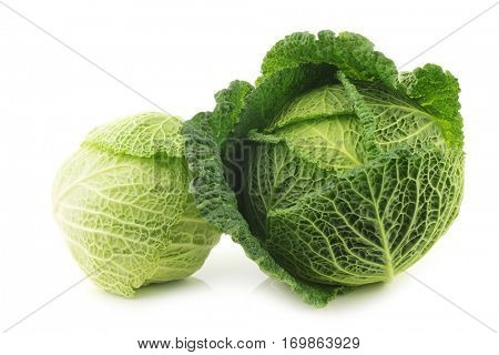 two green cabbages on a white background