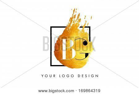 BG Circular Letter Brush Logo. Pink Brush with Splash Concept Design.