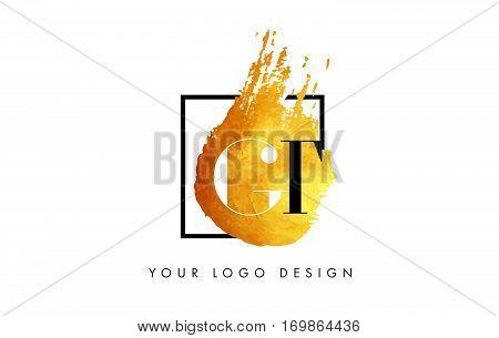 GT Circular Letter Brush Logo. Pink Brush with Splash Concept Design.