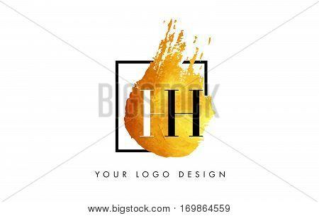 HH Circular Letter Brush Logo. Pink Brush with Splash Concept Design.