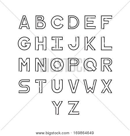 Thin vector font. Futuristic outline alphabet. High quality line alphabet set. Elegant black signs on white background. Latin minimal alphabet letters.