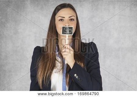Business Woman Covers Mouth With Dollar Signs