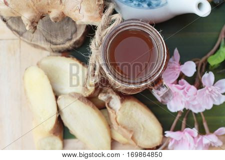 Ginger tea with fresh ginger sliced delicious