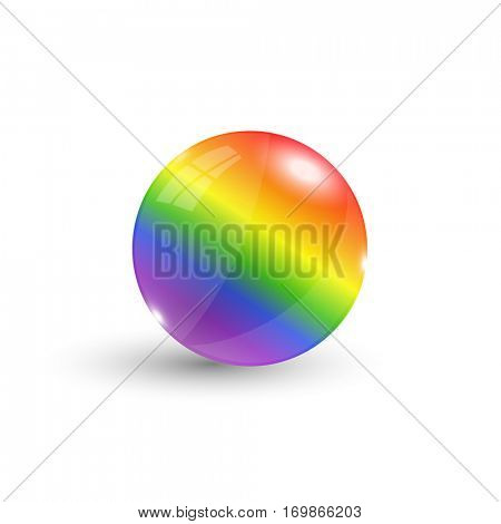Rainbow 3d sphere illustration on a white background