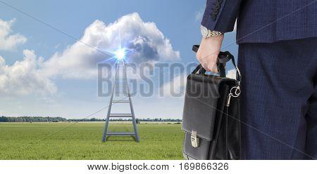 Ladder to a successful career concept design illustration banner