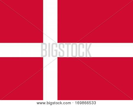 Official colors and proportion flag of Denmark, Vector Danish symbol illustration for web and apps in eps10.