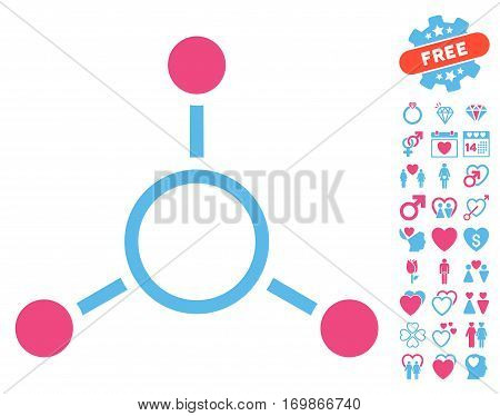 Radial Structure pictograph with bonus decorative pictures. Vector illustration style is flat rounded iconic pink and blue symbols on white background.