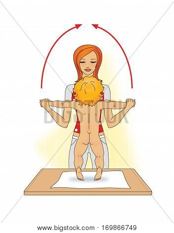 Young woman doing exercises with the baby: the rise of the hands through the sides with standing up on his toes. On a white background