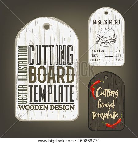 Hand drawn cutting board mockup with usage examples. Vector illustration with old textured plank used as mockup for label, logo, card, poster, advertising bar or pizzeria menu.