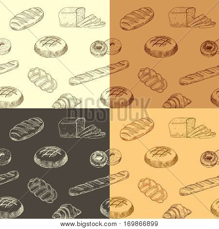 Colourful hand drawn pattern with realistic baking. Vector illustration. Seamless wallpaper with bread silhouette designed for print, packing, booklet or poster design.