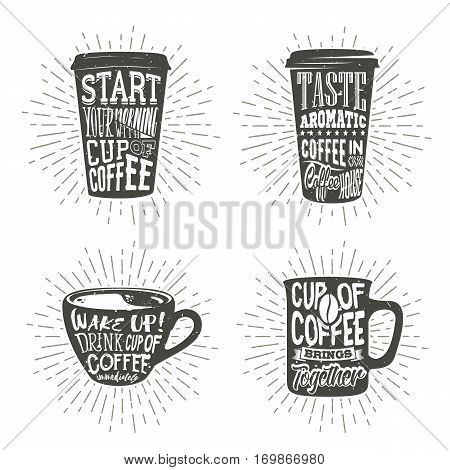 Set of cups silhouette with lettering and sunburst. Creative vector illustration with phrases about coffee. Typography design used for poster, card, banner, advertising cafe or shop.