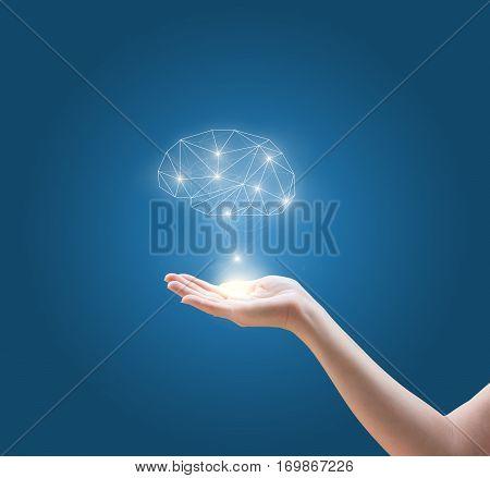 Mind in hand concept design illustration banner background.