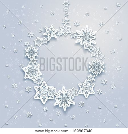Christmas festive snowflakes background for holiday invitation or card. Holiday background for design banner, ticket, leaflet and so on.