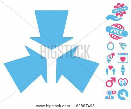 Shrink Arrows icon with bonus marriage design elements. Vector illustration style is flat rounded iconic pink and blue symbols on white background.