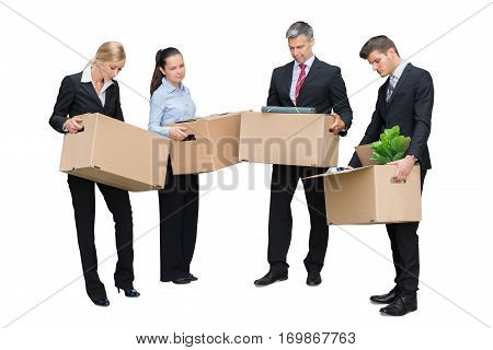 Fired Employees Standing With Cardboard Boxes On White Background