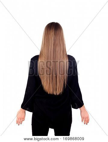 Woman back with beauty long blonde hair isolated on a white background