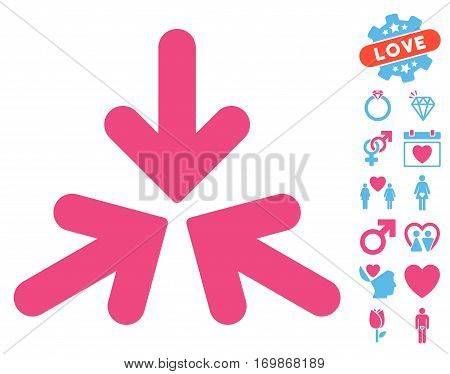 Triple Collide Arrows pictograph with bonus valentine design elements. Vector illustration style is flat rounded iconic pink and blue symbols on white background.