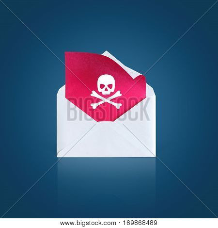 Open The Letter With A Virus On A Blue Background.