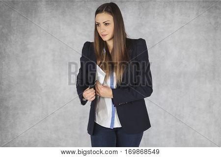 Business Woman Hiding An Envelope With A Bribe