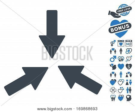 Collide 3 Arrows icon with bonus romantic icon set. Vector illustration style is flat rounded iconic smooth blue symbols on white background.