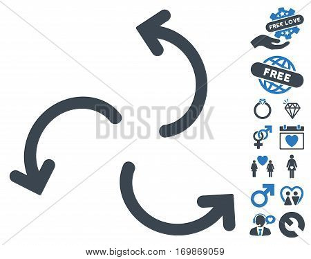 Cyclone Arrows icon with bonus decoration graphic icons. Vector illustration style is flat rounded iconic smooth blue symbols on white background.
