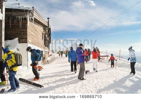 Sochi, Russia - 1 January, A crowd of people at a mountain resort, 1 January, 2017. Winter mountain ski resort Rosa Khutor.