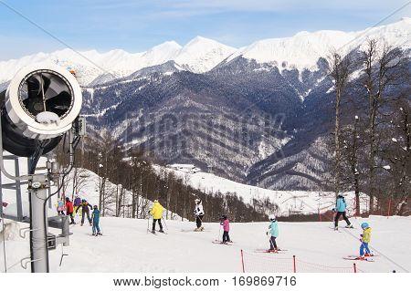 Sochi, Russia - 1 January, People in the ski resort, 1 January, 2017. Winter mountain ski resort Rosa Khutor.