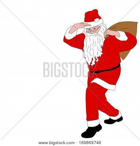 Santa Claus carrying  bag full of gifts - vector