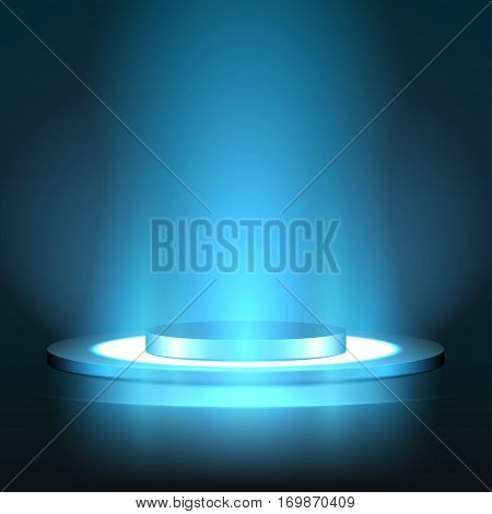 Illuminated round Podium for Presentation in the Dark with illuminated floor. Ready for your design. Vector Illustration.
