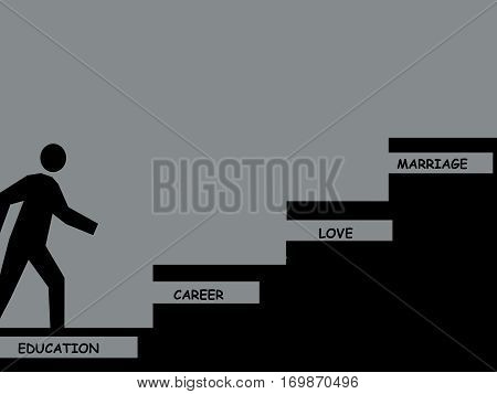 ladder of success. Human figure climbing the ladder of life.