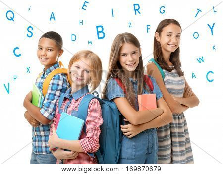Group of children and alphabet letters on white background. Speech therapy concept